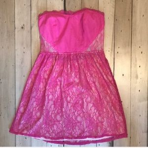 Pink Floral Lace Strapless Mini Dress